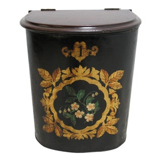 1930s Antique Coal Scuttle Coal Bin For Sale