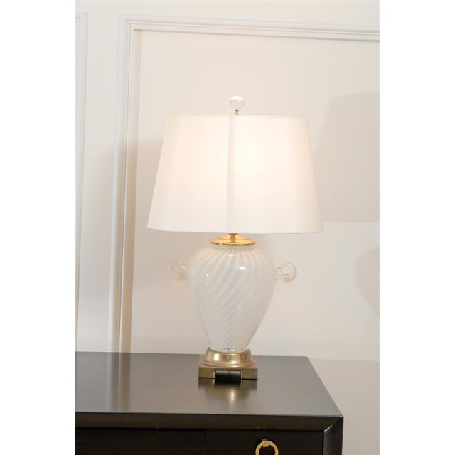 Italian Outstanding Pair of Cream Murano Lamps with Blown Glass Handles For Sale - Image 3 of 9