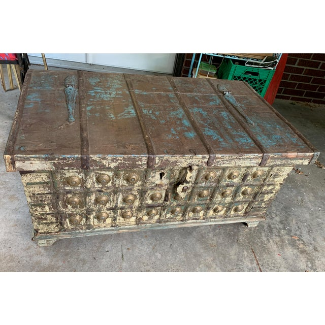 Antique Teak & Brass Trunk For Sale - Image 10 of 13