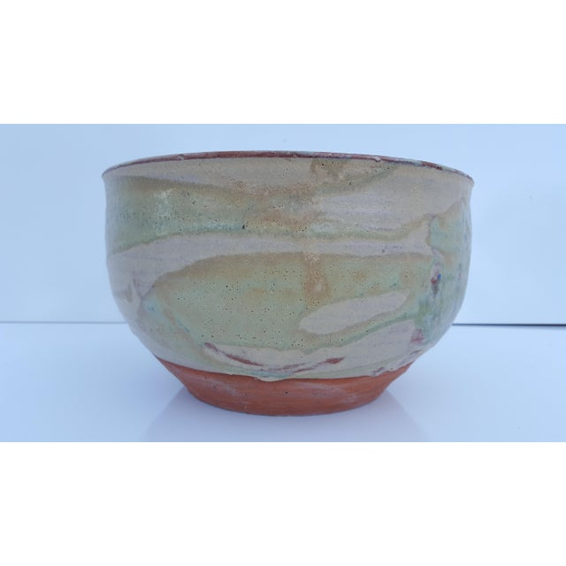 Vintage Drip glaze textural fat lava , in shades of lime green and cream colors , terracotta / Studio Pottery handmade...