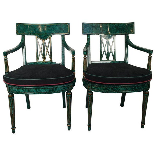 1980s Vintage Maitland Smith Malachite Painted Finish Armchairs- A Pair For Sale - Image 13 of 13