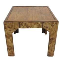 Faux Burlwood Parson Lamp Table For Sale
