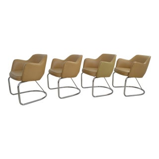 Eero Saarinen Knoll Executive Style Chrome and Upholstered Dining Chairs - Set of Four - Mid Century Modern MCM Organic