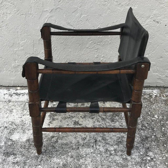 Pair of Syrian Leather Campaign / Safari Chairs For Sale - Image 11 of 12