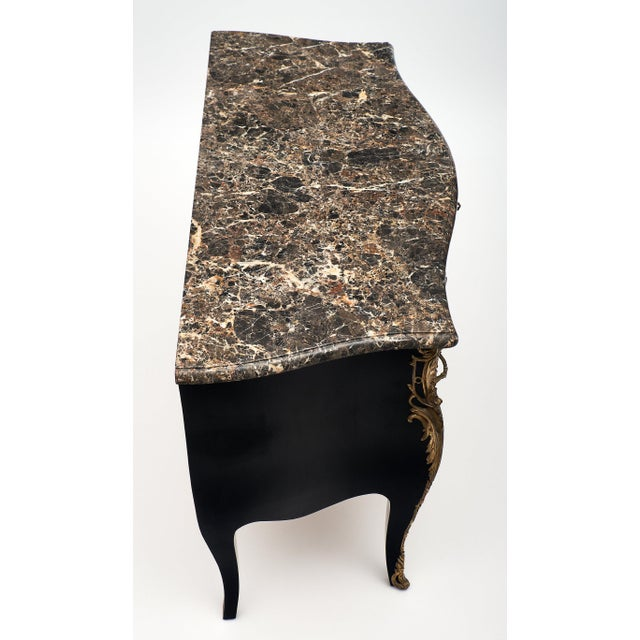Metal French Antique Louis XV Marble Top Commode Chest For Sale - Image 7 of 10
