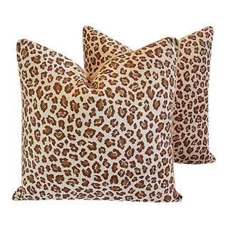 Custom Safari Leopard Velvet Feather Pillows - A Pair For Sale