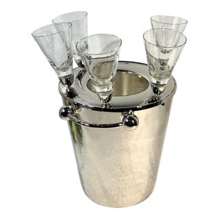 Mid-Century Modern Ice Bucket Silver Plated With Stemmed Champagne Liquor Shot Glasses - 6 Pc. Set For Sale
