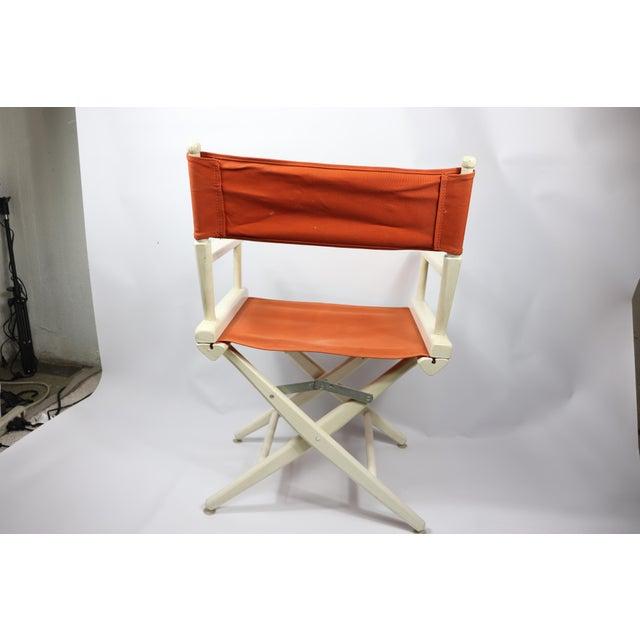 Orange 1960s Vintage Telescope Foldable Folding Directors Patio Chair For Sale - Image 8 of 10