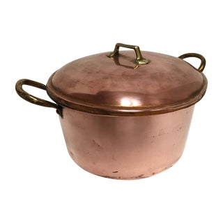 19th Century Monogrammed Copper Pot and Lid For Sale