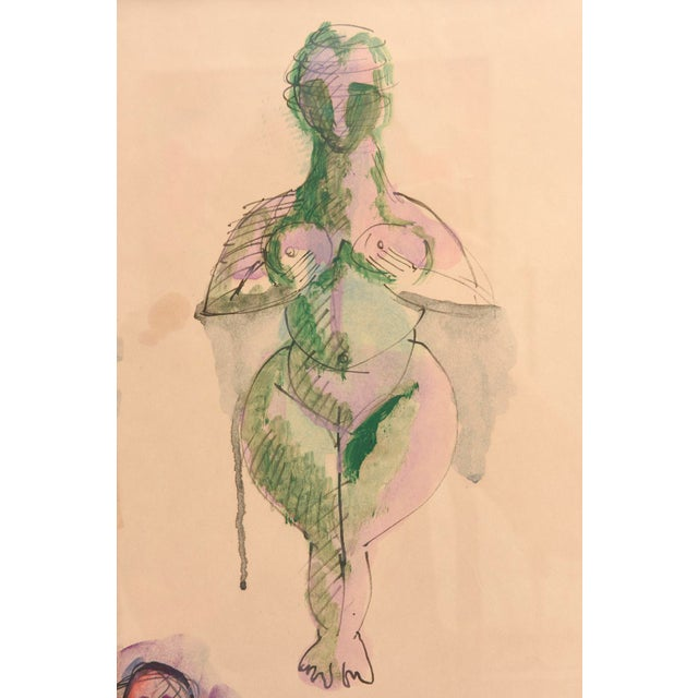 Signed Chamberlin Vintage One of Kind Nude/Abstract/ Figure Watercolor Custom Framed - Image 3 of 9