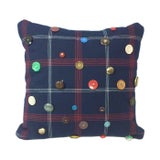 Image of Red, White & Blue Plaid Vintage Button Throw Pillow For Sale