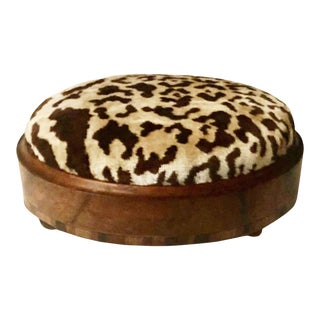 19th Century Continental Leopard Print Stool For Sale