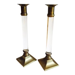 Mid-Century Lucite & Brass Candle Holders - A Pair For Sale