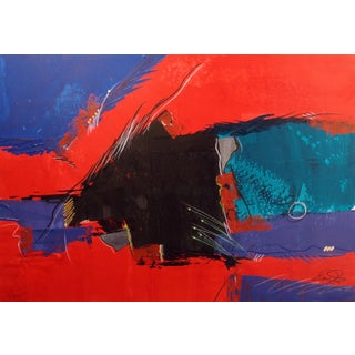 "1980s Eric Waugh ""Vilos"" Original Signed Artwork Mixed Media Painting For Sale"
