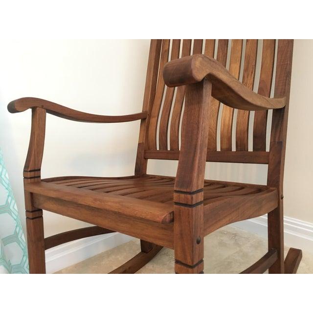 2000s Americana Cambridge Teak Rocking Chair For Sale - Image 9 of 13