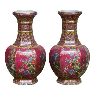 Chinese Porcelain Flora and Fauna Pink Vases - a Pair