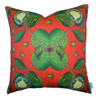 "Osage Orange Burnt Orange Silk 22"" Pillow For Sale"