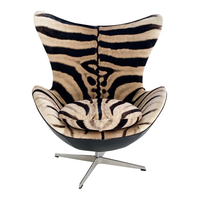 Arne Jacobsen for Fritz Hansen Egg Chair in Zebra Hide and Loro Piana Leather For Sale