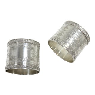 1870s Antique Sterling Silver Napkin Rings - a Pair For Sale