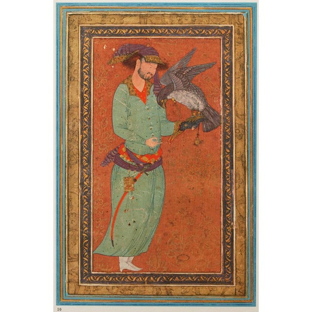 Turquoise 1940s Persian Original the Falconer Lithograph For Sale - Image 8 of 9