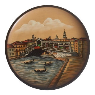 Pfaff Venice Canal Wooden Wall Plate For Sale