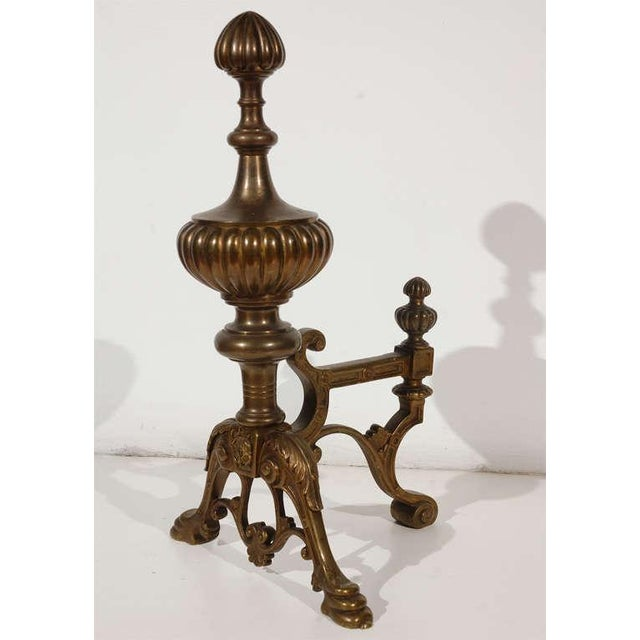 Early 20th Century Cast Brass Andirons - a Pair For Sale - Image 5 of 10