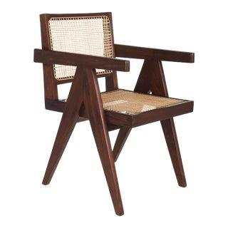 Pierre Jeanneret Chandigarh Teak & Wicker Desk Chair For Sale