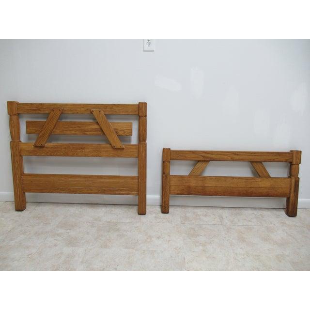 Vintage Brandt Ranch Rustic Oak Twin Size Bed Headboard & Footboard ...