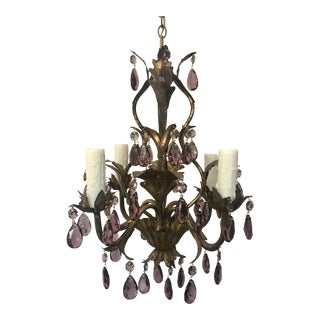 Italian Gold Leaf Chandelier With Light Amethyst Prisms For Sale