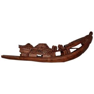 Hand-Carved Sampan Incense Burner in Teak For Sale