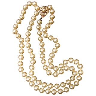 Miriam Haskell Opulent Glass Enamel Long Pearl Necklace Ca 1970 For Sale