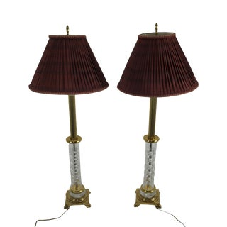 Waterford Pair Crystal Column Table Lamps W/ Shades For Sale