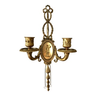 Neoclassical Brass Two Light Wall Sconce For Sale