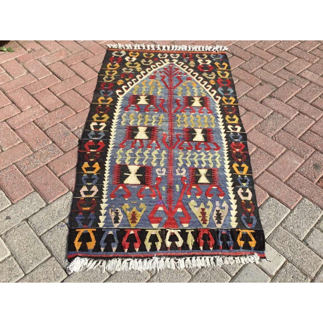 Vintage Turkish Kilim Rug For Sale - Image 9 of 9
