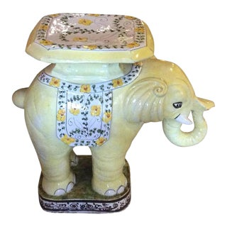 Vintage Terra Cotta Yellow Floral Elephant Garden Stand / Side Table For Sale