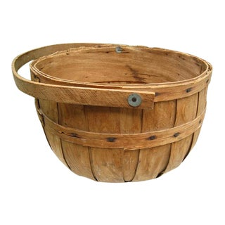 19th Century Primative Apple Farm Basket For Sale