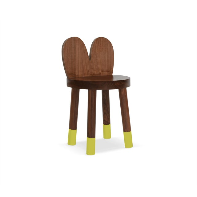 Children's Lola Kids Chair in Walnut With Green Finish For Sale - Image 3 of 3