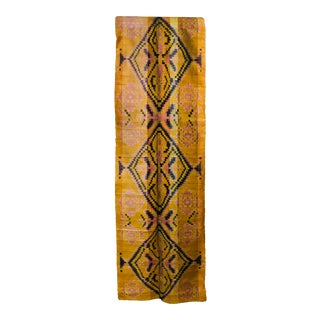 Amber Tribal Double Ikat Fabric/ Runner For Sale