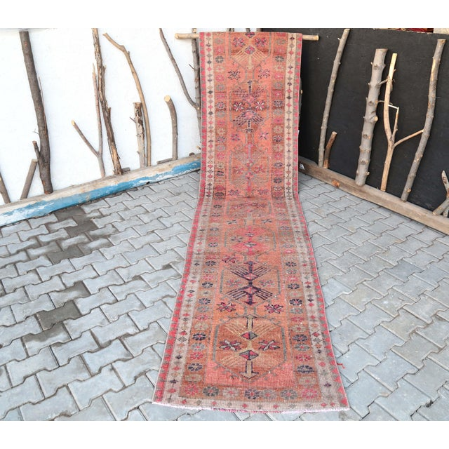 Salmon 1960's Vintage Turkish Hand-Knotted Long Runner-2′9″ × 15′1″ For Sale - Image 8 of 11