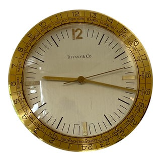"Estate 1970s Tiffany & Co. Brass Round ""World Timezone"" Table Desk Clock For Sale"