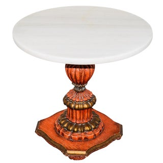 John Widdicomb Style Italian Regency Marble Top Carved Wood Pedestal Table For Sale