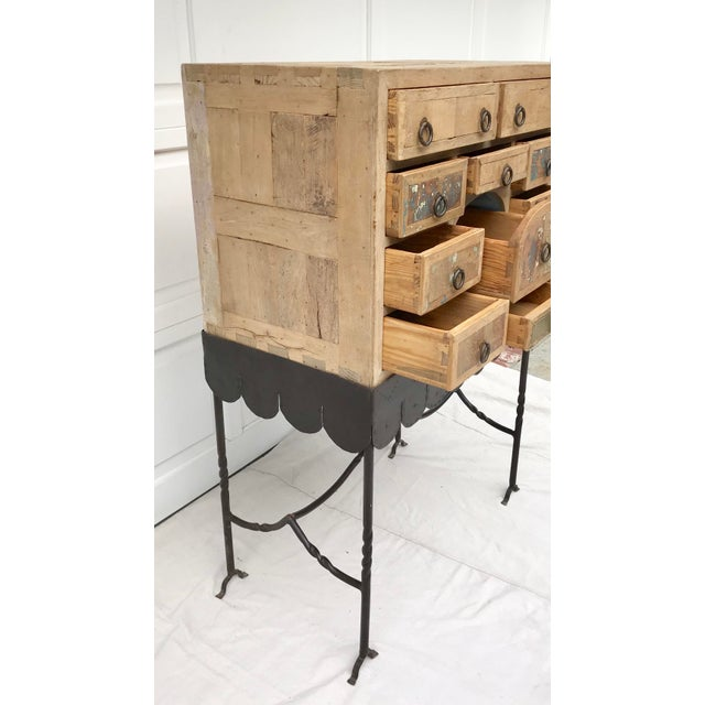 Rustic Folk Art Arte De Mexico Cabinet With Custom Iron Stand For Sale - Image 3 of 7