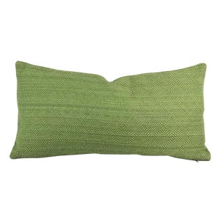 F. Schumacher Villis Strie Emerald Lumbar Pillow Cover For Sale