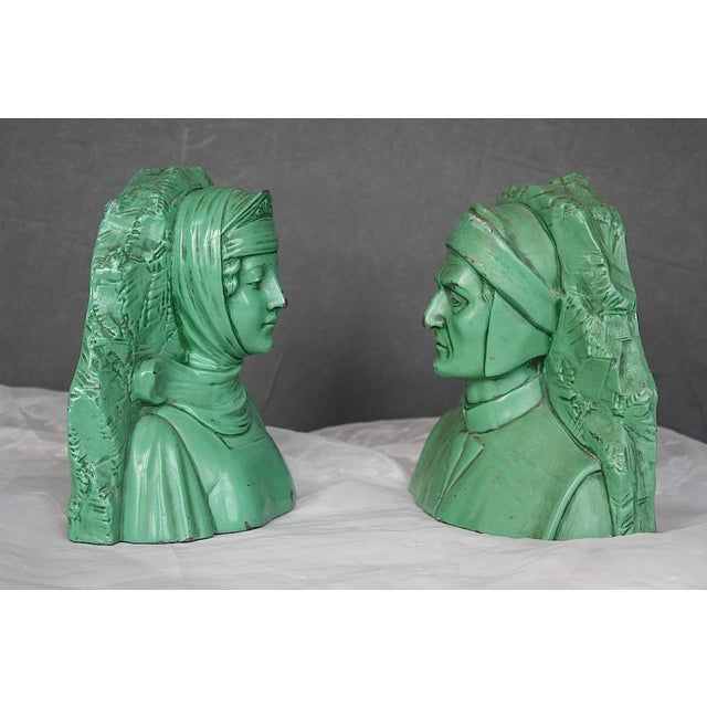 Contemporary Vintage Dante & Beatrice Jennings Brothers Bookends - a Pair For Sale - Image 3 of 8