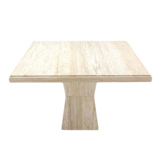 44 Inch Square Travertine Game Table on Double Tapered Base For Sale