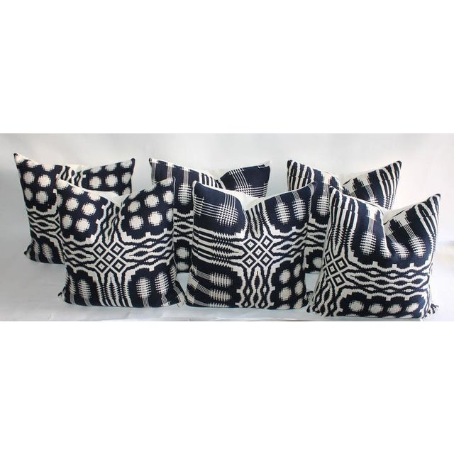 Contemporary 19th Century Handwoven Jacquard Coverlet Pillows For Sale - Image 3 of 10