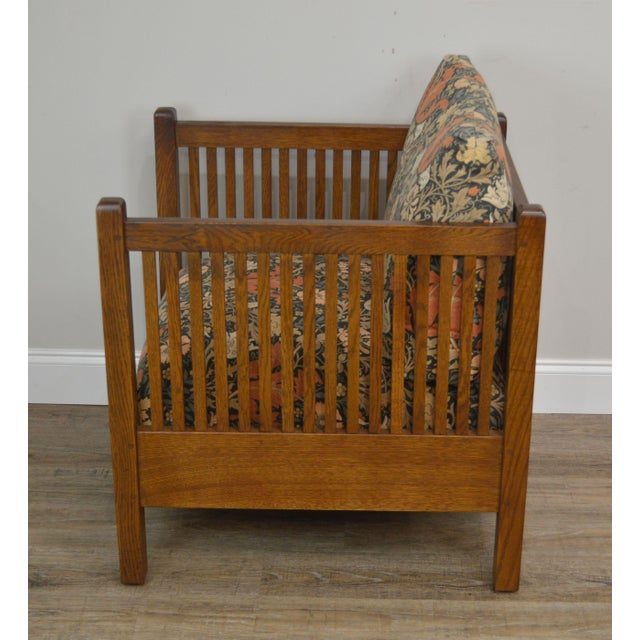 Stickley Mission Collection Oak Spindle Cube Chair For Sale In Philadelphia - Image 6 of 13
