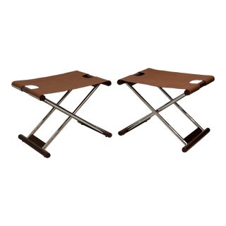 French Modern Folding Benches - a Pair For Sale