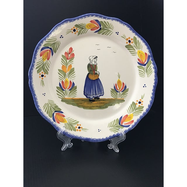 Mid 20th Century Vintage Henri Quimper Faience Bretonne Woman Charger For Sale - Image 5 of 8