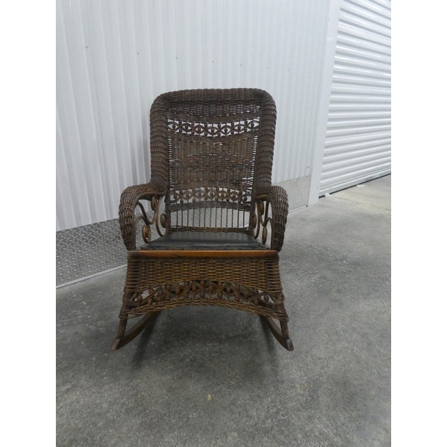 Traditional Victorian Heywood Wakefield Wicker Rocking Chair For Sale - Image 3 of 13